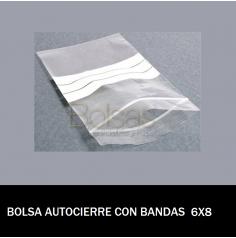 BOLSAS TRANSPARENTES AUTOCIERRE CON BANDAS 6X8
