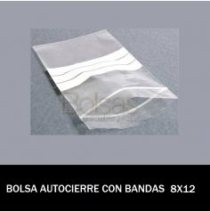 BOLSAS TRANSPARENTES AUTOCIERRE CON BANDAS 8X12