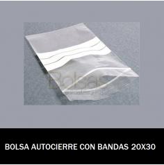 BOLSAS TRANSPARENTES AUTOCIERRE CON BANDAS 20X30