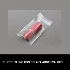 BOLSA POLIPROPILENO CON SOLAPA ADHESIVA 6X8