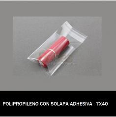 BOLSA POLIPROPILENO CON SOLAPA ADHESIVA 7X40