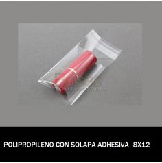 BOLSA POLIPROPILENO CON SOLAPA ADHESIVA 8X12