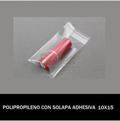 BOLSA POLIPROPILENO CON SOLAPA ADHESIVA 10X15