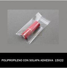 BOLSA POLIPROPILENO CON SOLAPA ADHESIVA 15X22