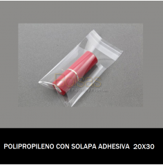 BOLSA POLIPROPILENO CON SOLAPA ADHESIVA 20X30