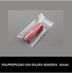 BOLSA POLIPROPILENO CON SOLAPA ADHESIVA 30X40