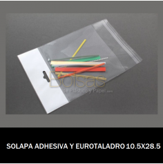 BOLSA CON SOLAPA ADHESIVA Y EUROTALADRO 10.5X28.5