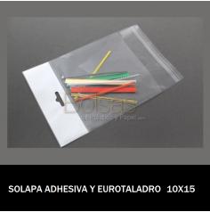 BOLSA CON SOLAPA ADHESIVA Y EUROTALADRO 10X15