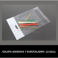 BOLSA CON SOLAPA ADHESIVA Y EUROTALADRO 13.5X21