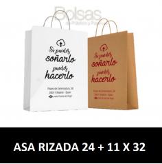 BOLSAS DE PAPEL PERSONALIZADAS ASA RIZADA 24 + 11 X 32