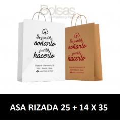 BOLSAS DE PAPEL PERSONALIZADAS ASA RIZADA 25 + 14 X 35