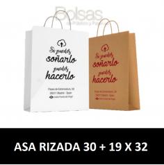 BOLSAS DE PAPEL PERSONALIZADAS ASA RIZADA 30 + 19 X 32
