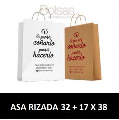 BOLSAS DE PAPEL PERSONALIZADAS ASA RIZADA 32 + 17 X 38