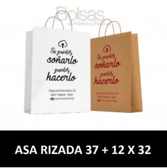 BOLSAS DE PAPEL PERSONALIZADAS ASA RIZADA 37 + 12 X 32