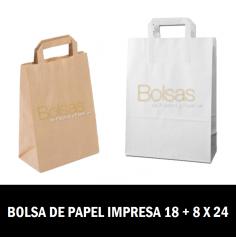 BOLSA DE PAPEL PERSONALIZADAS ASA PLANA 18 + 8 X 24