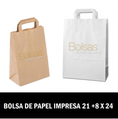 BOLSA DE PAPEL PERSONALIZADAS ASA PLANA 21 + 8 X 24