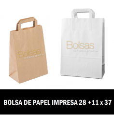 BOLSA DE PAPEL PERSONALIZADAS ASA PLANA 28 + 11 X 37