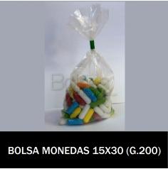 BOLSAS TRANSPARENTES 15X30 MONEDA (G.200)